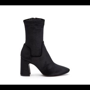 Aquatalia black velvet sock stretch ankle boots